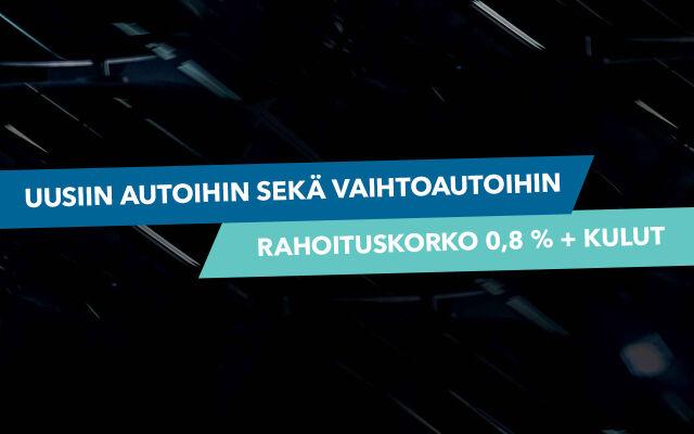 Uusiin ja vaihtoautoihin rahoitus 0,8 % + kulut